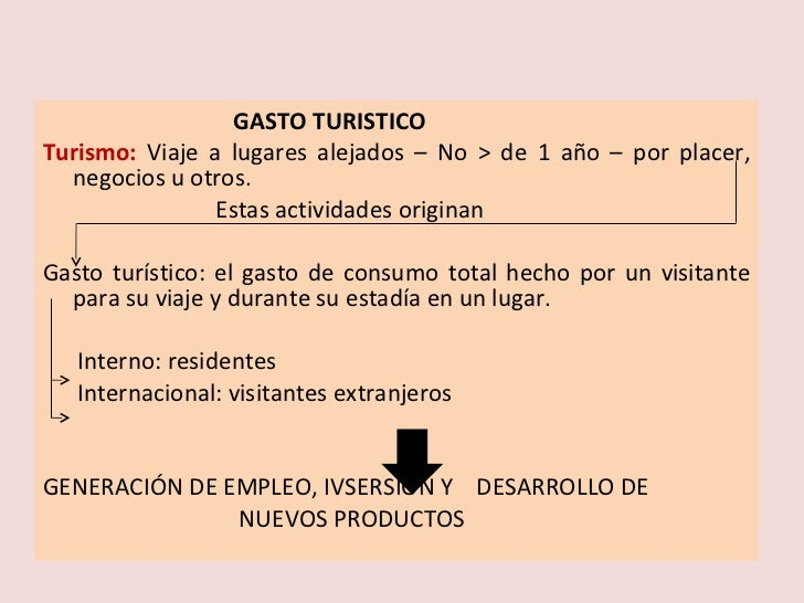 <ul><li>GASTO TURISTICO </li></ul><ul><li>Turismo:  Viaje a lugares alejados – No > de 1 año – por placer, negocios u otro...