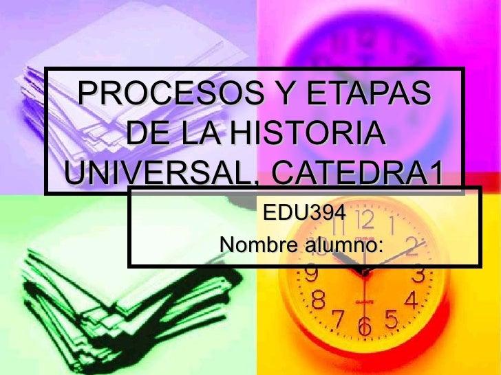 PROCESOS Y ETAPAS DE LA HISTORIA UNIVERSAL, CATEDRA1 EDU394 Nombre alumno: