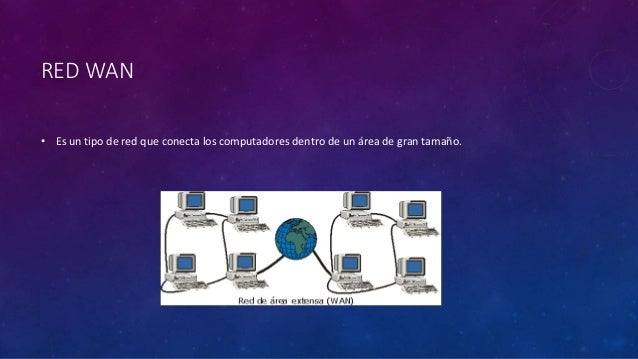 RED WAN • Es un tipo de red que conecta los computadores dentro de un área de gran tamaño.