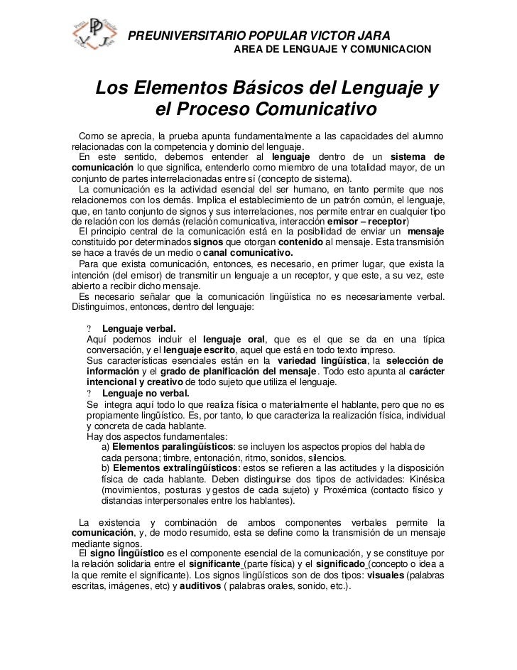 PREUNIVERSITARIO POPULAR VICTOR JARA                                        AREA DE LENGUAJE Y COMUNICACION     Los Elemen...
