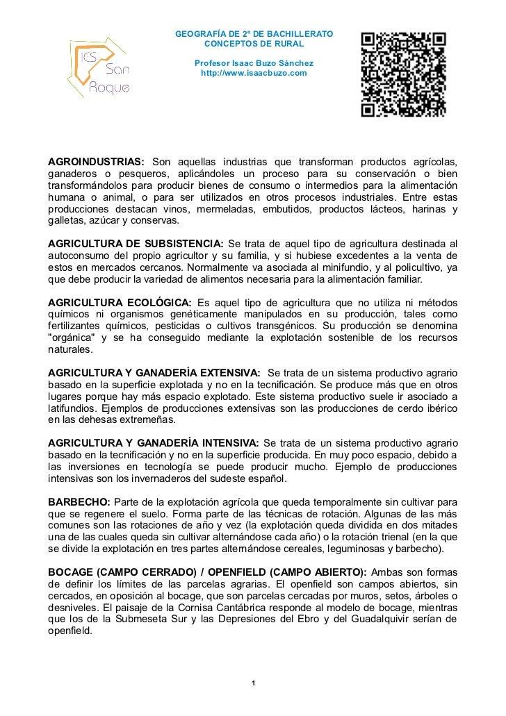 GEOGRAFÍA DE 2º DE BACHILLERATO                                 CONCEPTOS DE RURAL                                Profesor...