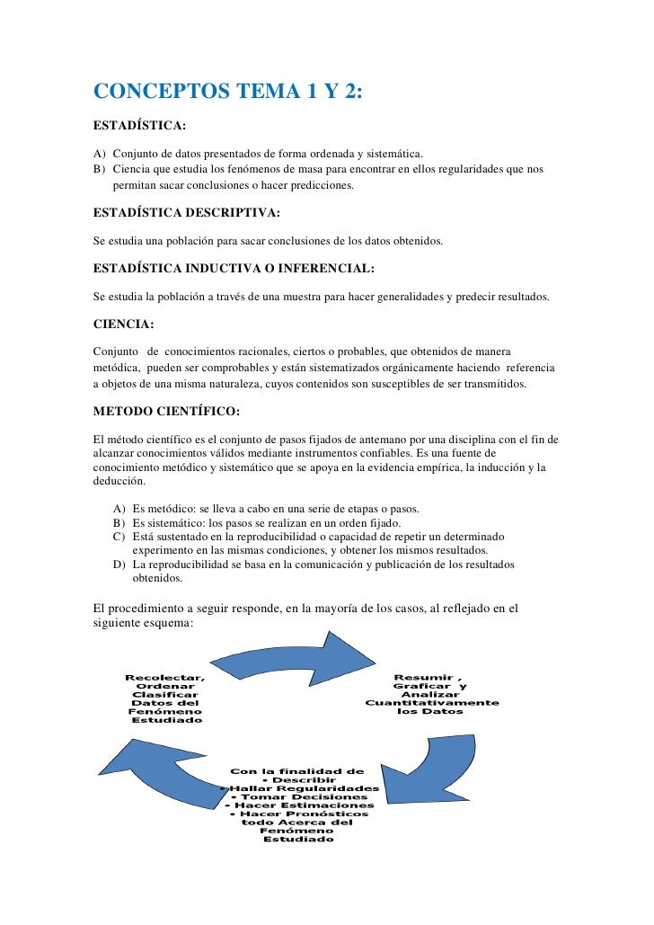 CONCEPTOS TEMA 1 Y 2: ESTADÍSTICA:  A) Conjunto de datos presentados de forma ordenada y sistemática. B) Ciencia que estud...