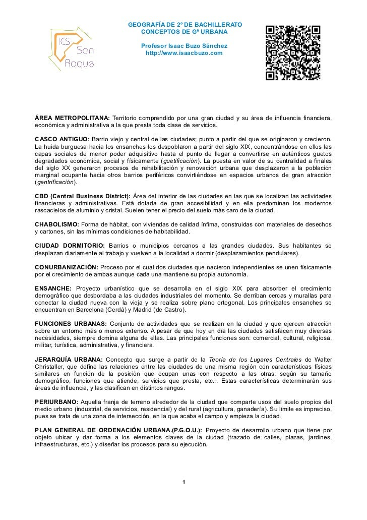 GEOGRAFÍA DE 2º DE BACHILLERATO                                      CONCEPTOS DE Gª URBANA                               ...
