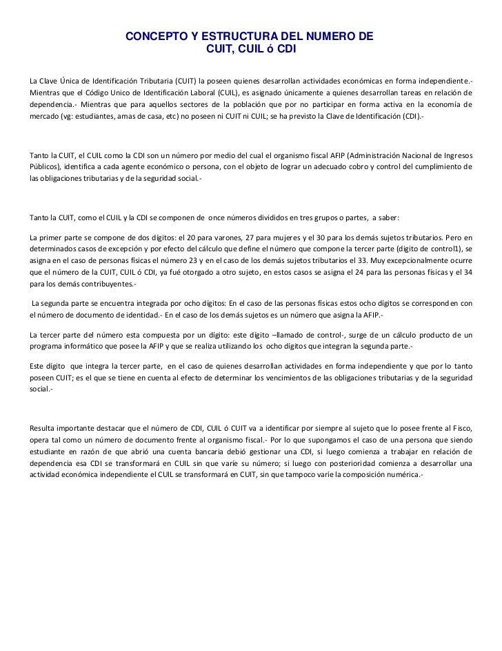 CONCEPTO Y ESTRUCTURA DEL NUMERO DE                                        CUIT, CUIL ó CDILa Clave Única de Identificació...