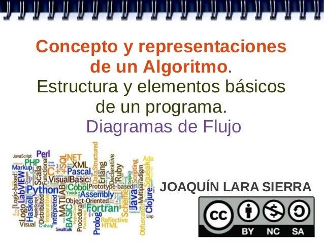 Concepto y representaciones       de un Algoritmo.Estructura y elementos básicos       de un programa.      Diagramas de F...