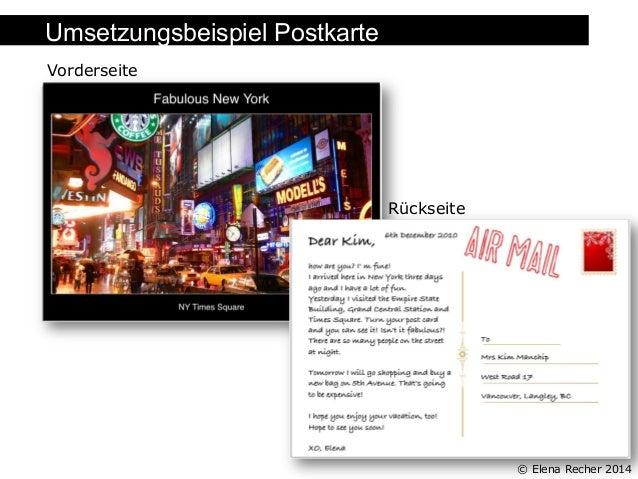 Umsetzungsbeispiel Postkarte Folienüberschrift Vorderseite  Rückseite  © Elena Recher 2014