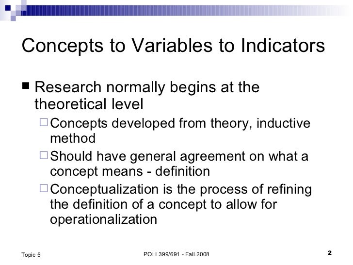 Concepts, Operationalization and Measurement Slide 2