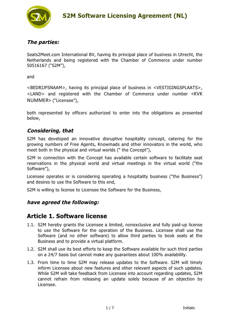 S2M Software Licensing Agreement (NL)                The parties:              Seats2Meet.c...