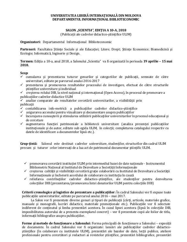"""UNIVERSITATEA LIBERĂ INTERNAŢIONALĂ DIN MOLDOVA DEPARTAMENTUL INFORMAŢIONAL BIBLIOTECONOMIC SALON """"SCIENTIA"""", EDIŢIA A 10-..."""