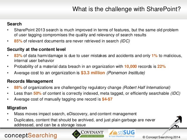 © Concept Searching 2014  What is the challenge with SharePoint?  Search  •SharePoint 2013 search is much improved in term...
