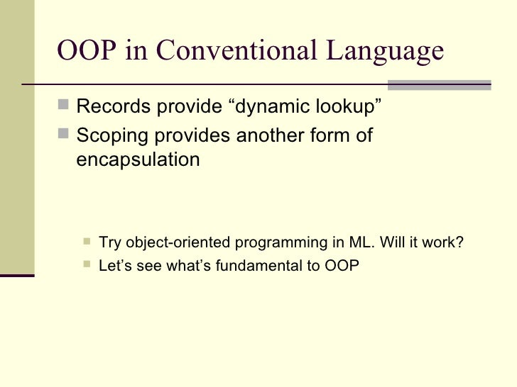 oop language Object oriented programming language - free download as word doc (doc / docx), pdf file (pdf), text file (txt) or read online for free.