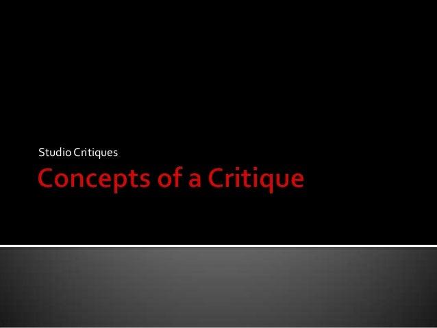 Studio Critiques