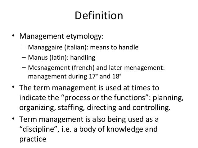 definition of function of management Operations management (om) is the business function responsible for managing the process of creation of goods and services it involves planning, organizing, coordinating, and controlling all the resources needed to produce a company's goods and services.