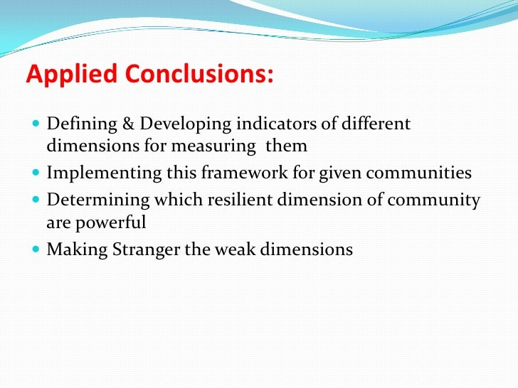 Conceptual Models For Disaster Resilient Communities