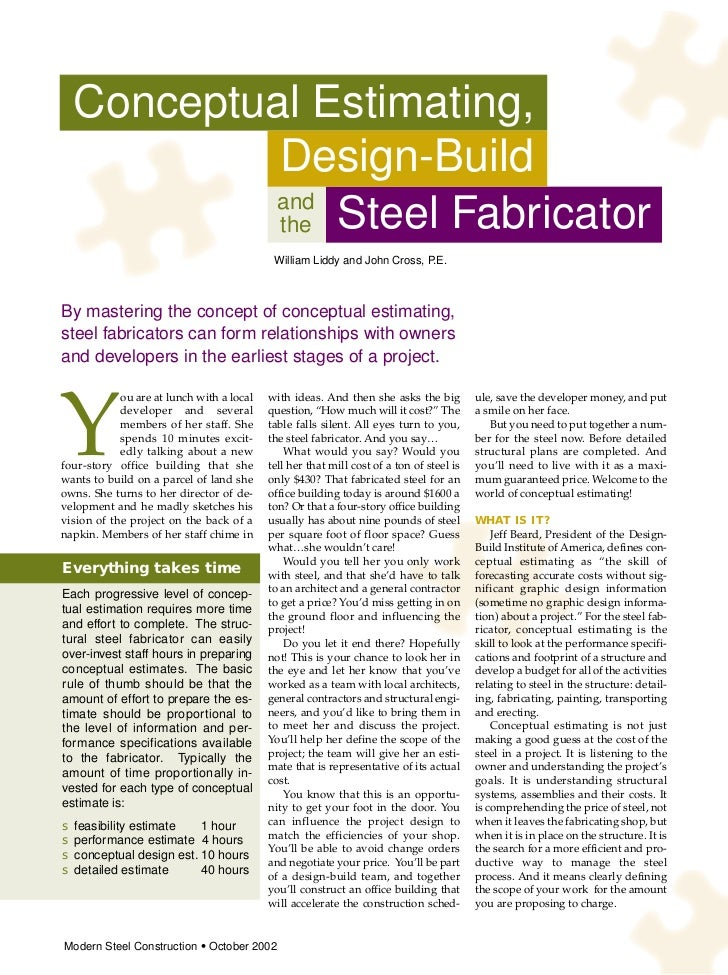 Conceptual Estimating,           Design-Build          and           the Steel Fabricator                                 ...