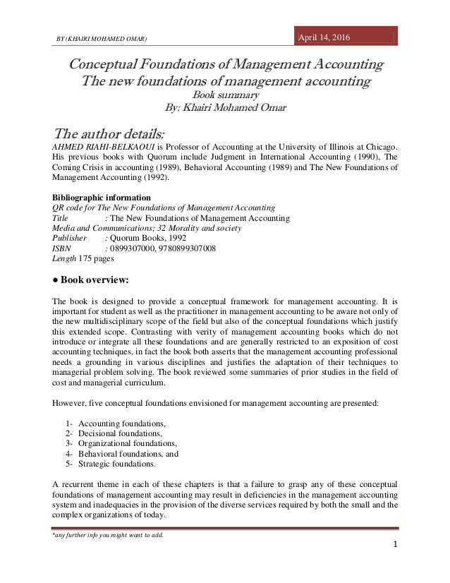... foundations of management accounting. BY (KHAIRI MOHAMED OMAR) April 14, 2016 *any further info you might ...
