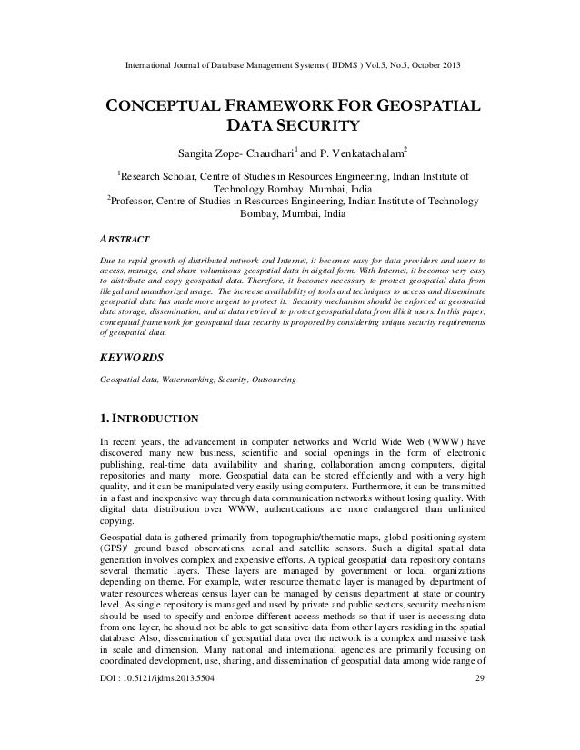 International Journal of Database Management Systems ( IJDMS ) Vol.5, No.5, October 2013  CONCEPTUAL FRAMEWORK FOR GEOSPAT...