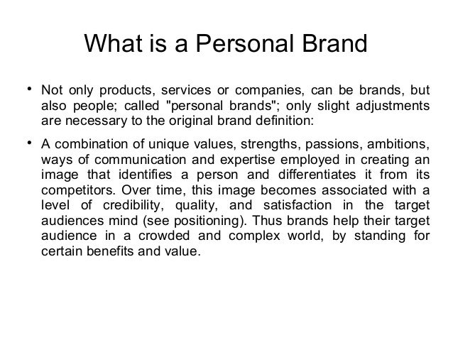 Conceptualisation personal brand - ppt