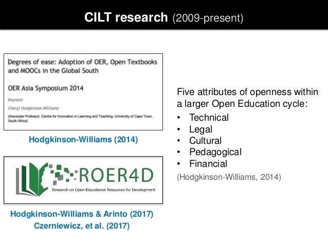 CILT research (2009-present) Hodgkinson-Williams (2014) Hodgkinson-Williams & Arinto (2017) Czerniewicz, et al. (2017) Fiv...