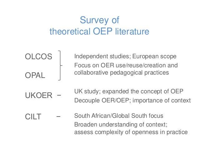 Survey of theoretical OEP literature OLCOS OPAL UKOER − CILT − Independent studies; European scope Focus on OER use/reuse/...