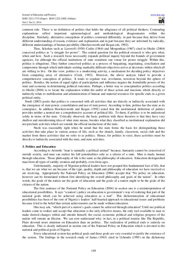 politics of education Regulations state board of education (sbe) and state department of educa-  of  tests, and/or partly political, reflecting collective judgments about what students.