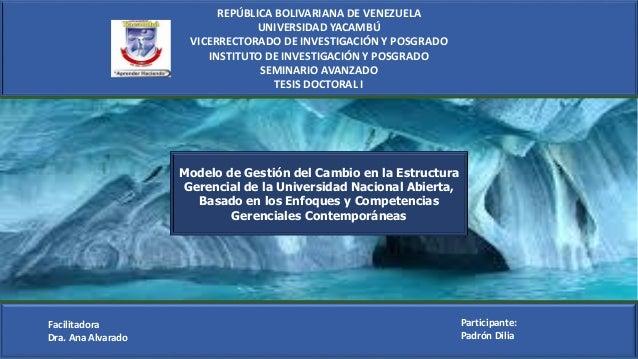 REPÚBLICA BOLIVARIANA DE VENEZUELA UNIVERSIDAD YACAMBÚ VICERRECTORADO DE INVESTIGACIÓN Y POSGRADO INSTITUTO DE INVESTIGACI...