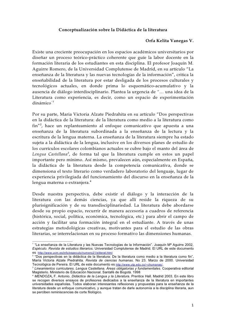 Conceptualización sobre la Didáctica de la literatura                                                                     ...