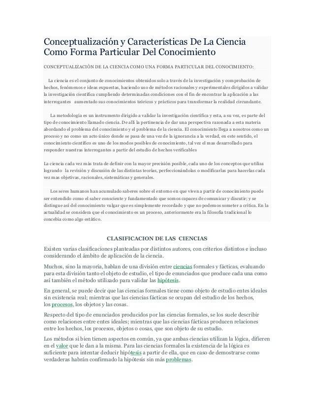 Conceptualización y Características De La CienciaComo Forma Particular Del ConocimientoCONCEPTUALIZACIÓN DE LA CIENCIA COM...