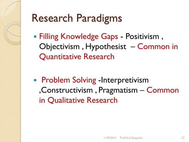 Research Paradigms  Filling Knowledge Gaps - Positivism , Objectivism , Hypothesist – Common in Quantitative Research  P...