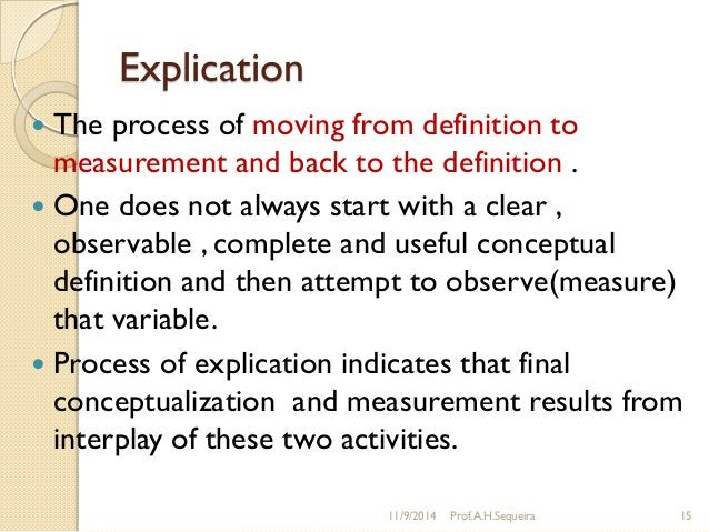 Explication  The process of moving from definition to measurement and back to the definition .  One does not always star...
