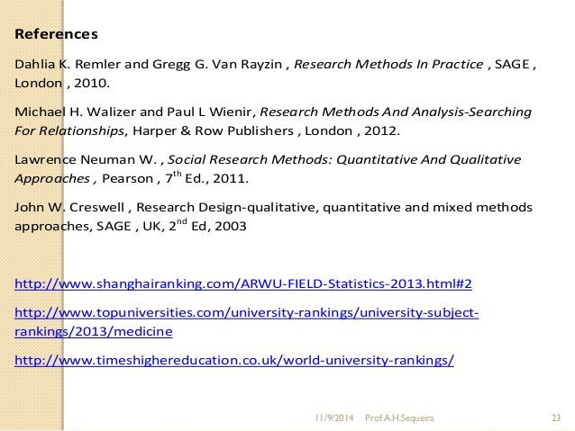 References Dahlia K. Remler and Gregg G. Van Rayzin , Research Methods In Practice , SAGE , London , 2010. Michael H. Wali...