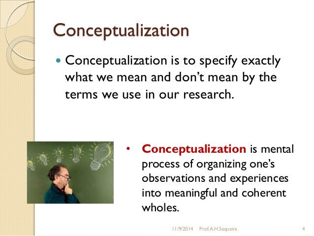 """Conceptualization  Conceptualization is to specify exactly what we mean and don""""t mean by the terms we use in our researc..."""