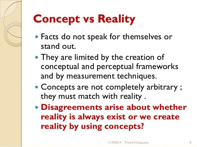 Concept vs Reality  Facts do not speak for themselves or stand out.  They are limited by the creation of conceptual and ...