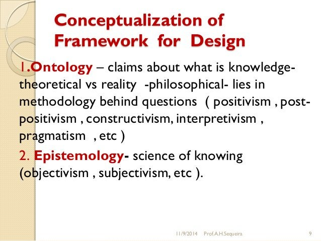 Conceptualization of Framework for Design 1.Ontology – claims about what is knowledge- theoretical vs reality -philosophic...