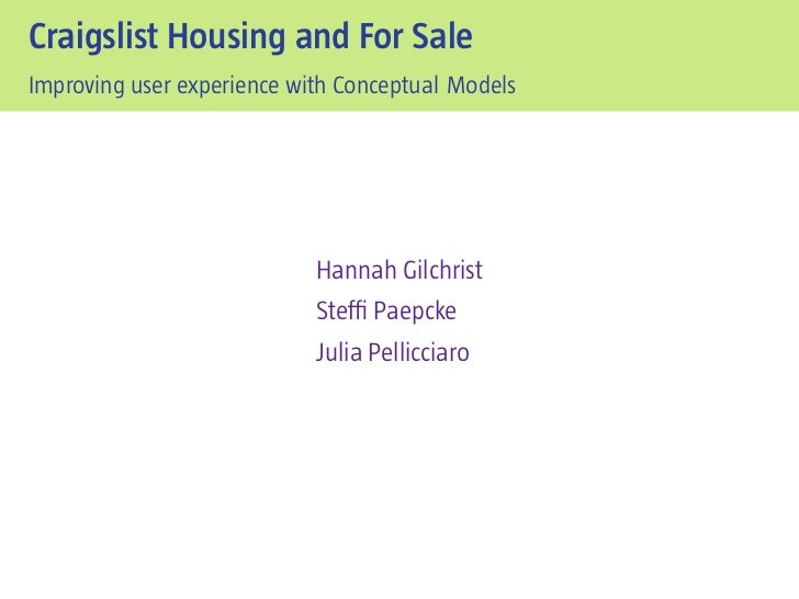 Craigslist Housing and For SaleImproving user experience with Conceptual Models                            Hannah Gilchris...