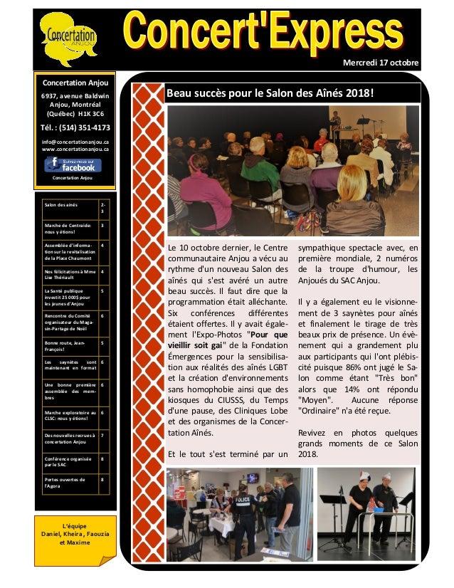 Concertation Anjou 6937, avenue Baldwin Anjou, Montréal (Québec) H1K 3C6 Tél. : (514) 351-4173 info@concertationanjou.ca w...