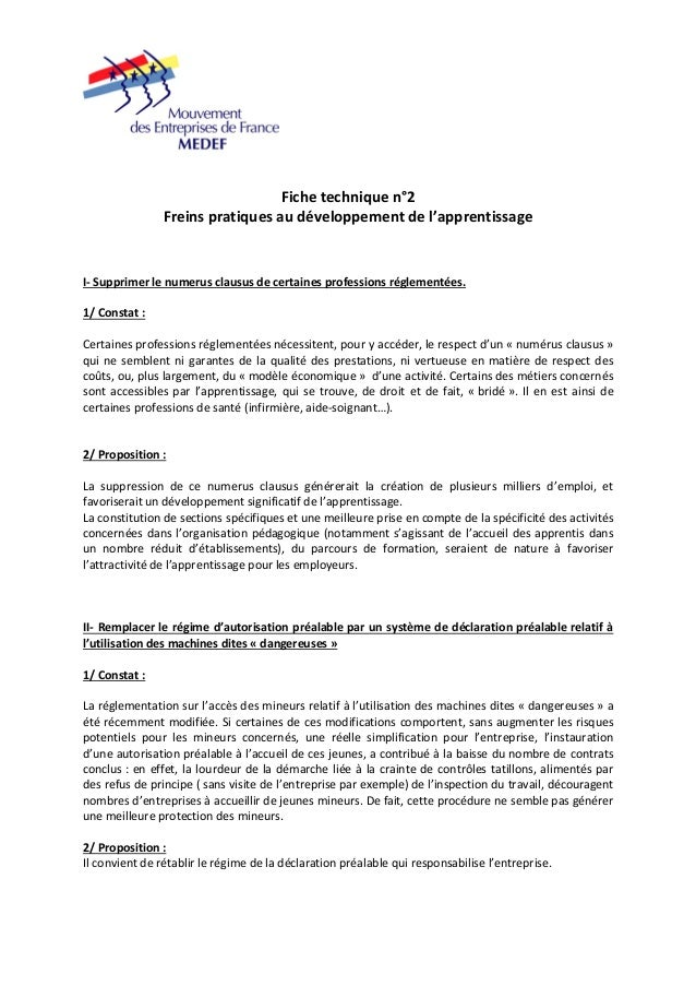 Fiche technique n°2  Freins pratiques au développement de l'apprentissage  I‐ Supprimer le numerus clausus de certaines pr...