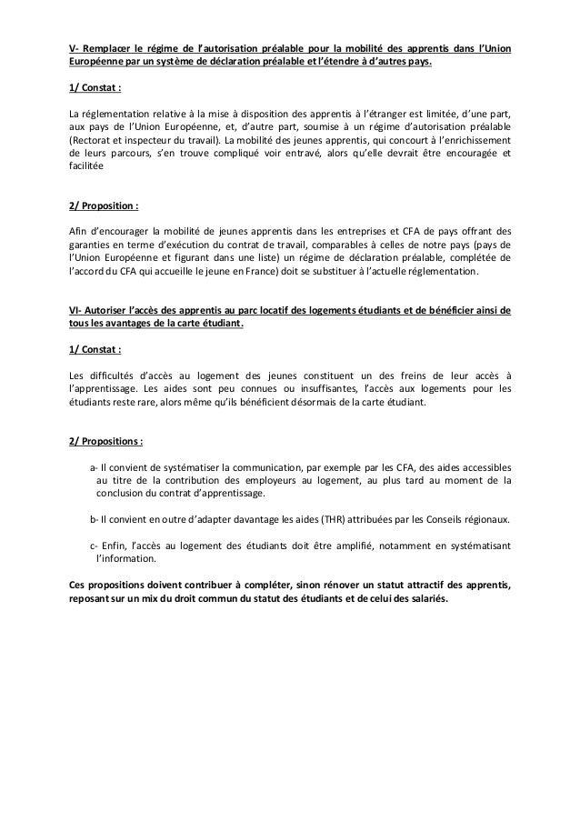 V‐ Remplacer le régime de l'autorisation préalable pour la mobilité des apprentis dans l'Union  Européenne par un système ...