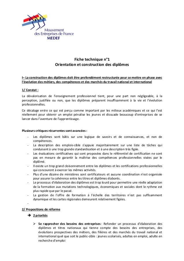Fiche technique n°1  Orientation et construction des diplômes  I– La construction des diplômes doit être profondément rest...