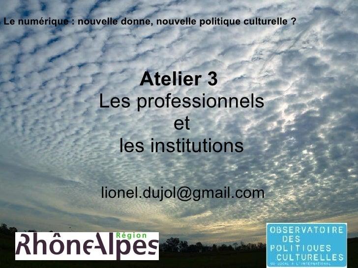 Atelier 3   Les professionnels  et  les institutions [email_address] Le numérique : nouvelle donne, nouvelle politique cul...