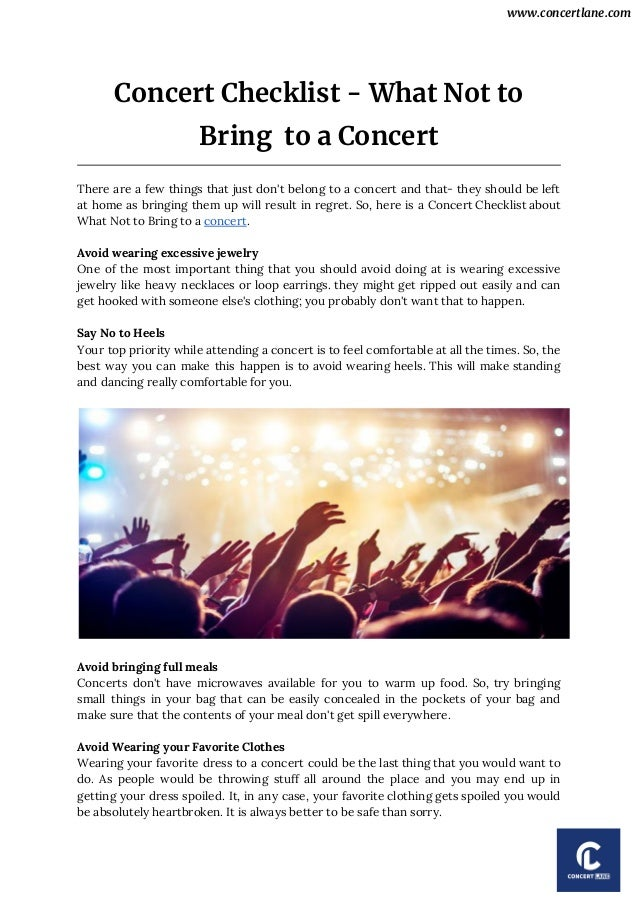 Concert checklist what not to bring to a concert