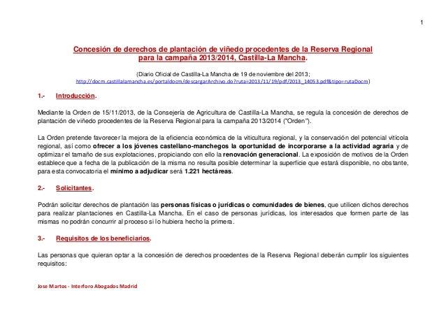 1  Concesión de derechos de plantación de viñedo procedentes de la Reserva Regional para la campaña 2013/2014, Castilla-La...