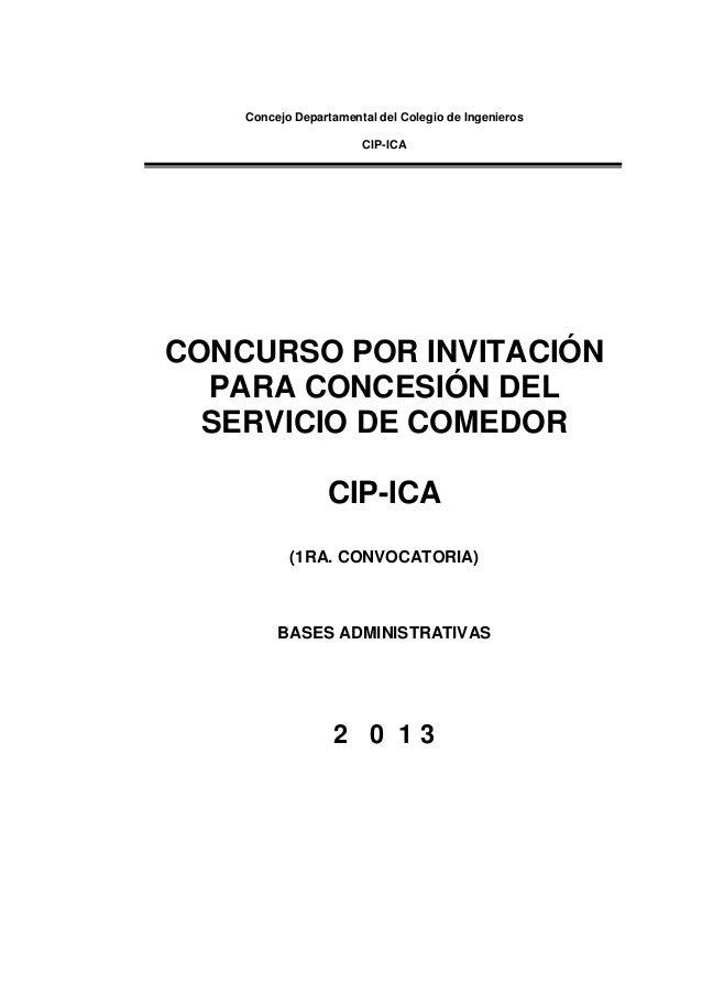 Concesion de cafeteria cip 2013 for Como hacer una propuesta para un comedor industrial