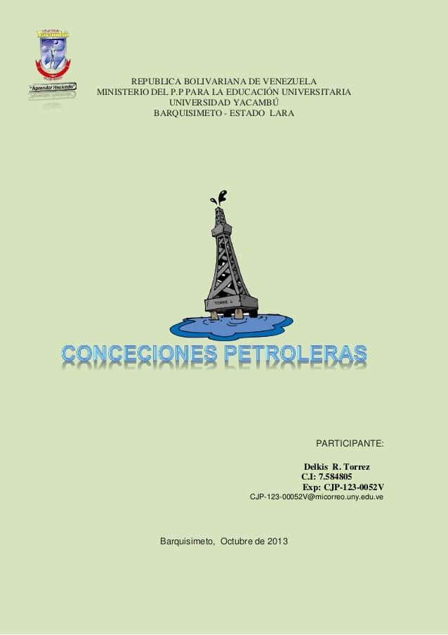 REPUBLICA BOLIVARIANA DE VENEZUELA MINISTERIO DEL P.P PARA LA EDUCACIÓN UNIVERSITARIA UNIVERSIDAD YACAMBÚ BARQUISIMETO - E...