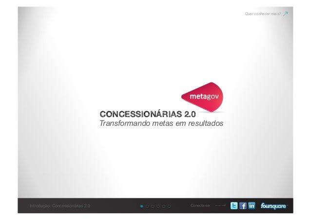 Introdução: Concessionárias 2.0 Conecte-se CONCESSIONÁRIAS 2.0 Transformando metas em resultados Quer conhecer mais?