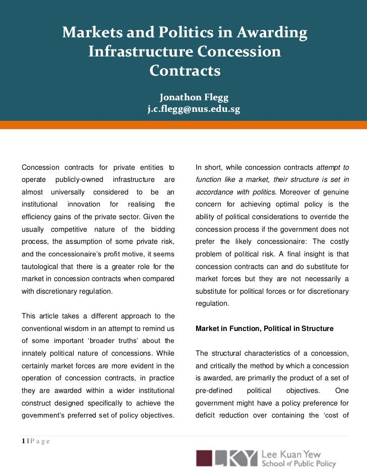 Markets and Politics in Awarding                  Infrastructure Concession                          Contracts            ...