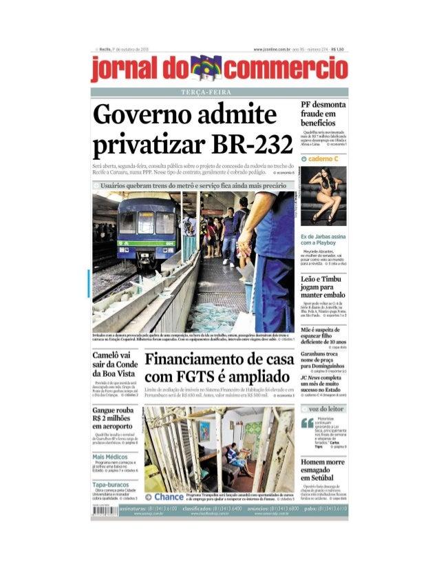 Concessão da BR-232, cobertura completa, versão impressa - JC