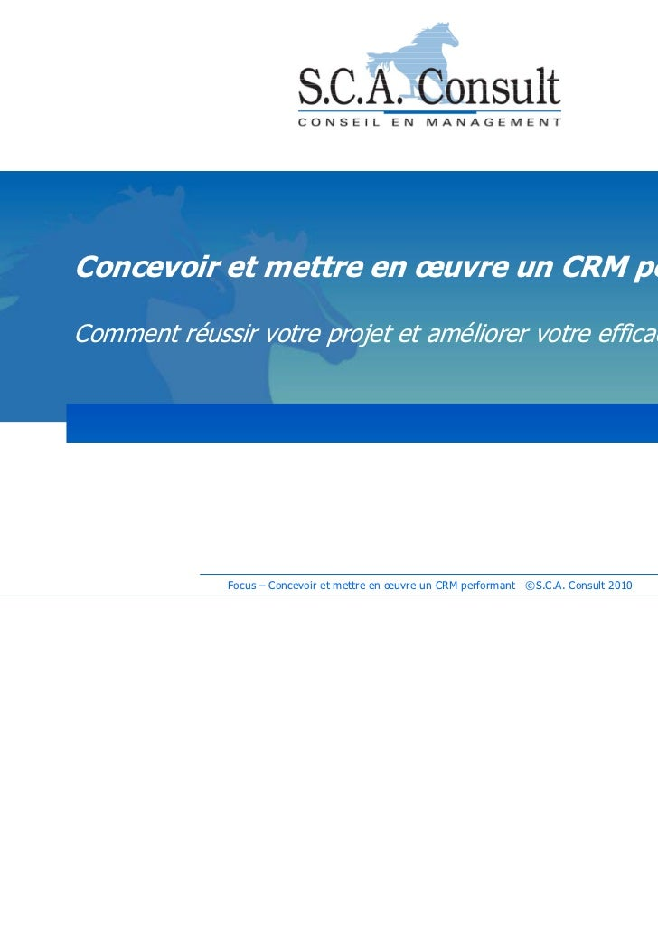 Concevoir et mettre en œuvre un CRM performantComment réussir votre projet et améliorer votre efficacité commerciale      ...