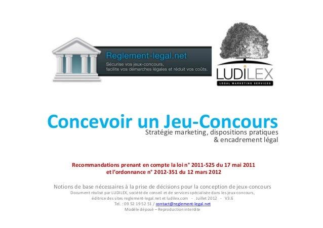 Concevoir un Jeu-ConcoursConcevoir un Jeu-ConcoursStratégie marketing, dispositions pratiques & encadrement légal Notions ...