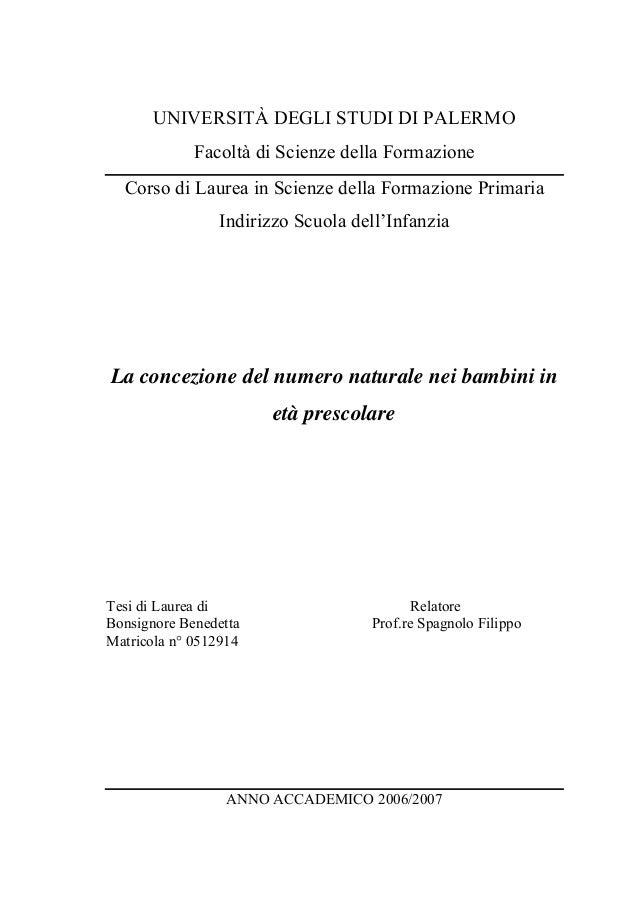 UNIVERSITÀ DEGLI STUDI DI PALERMO Facoltà di Scienze della Formazione Corso di Laurea in Scienze della Formazione Primaria...